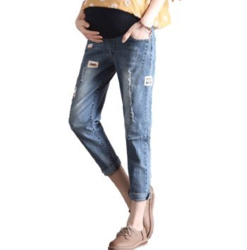 Stylish adjustable maternity jeans
